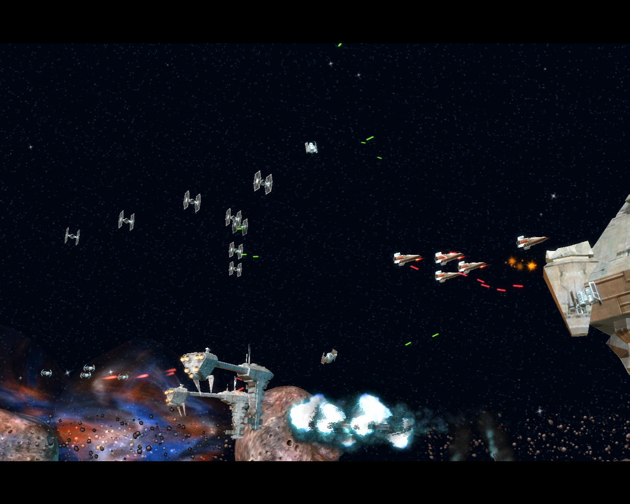 TIE Fighters attempt to shoot down pesky A-Wings as capital ships are bombed